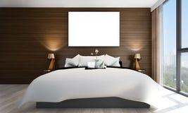 Wnętrze projekta pomysł minimalna sypialnia, betonowa ściana, pejzażu miejskiego drewno i widok i ściana i obrazek rama Zdjęcie Royalty Free