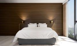 Wnętrze projekta pomysł minimalny sypialni, betonowej ściany i pejzażu miejskiego widok Obrazy Royalty Free