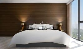 Wnętrze projekta pomysł minimalny widok i drewno ściana sypialni, betonowej ściany i pejzażu miejskiego Zdjęcia Stock