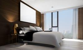 Wnętrze projekta pomysł sypialnia, betonowa ściana, pejzażu miejskiego drewno i widok i ściana i obrazek rama Obraz Royalty Free