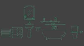 Wnętrze prysznic pokój Elementy dla łazienki wnętrza Łazienka wewnętrzny kontur Obrazy Stock