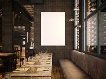Wnętrze rocznika pustego miejsca i restauraci kanwa świadczenia 3 d ilustracji