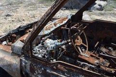 Wnętrze rujnujący pojazd zakłada w pustyni Aruba Obrazy Stock