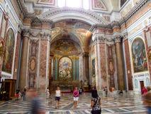 Wnętrze rzymskokatolicka bazylika święty Mary i męczennicy aniołowie w Rzym w Włochy Obrazy Stock