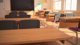 Wnętrze sala lekcyjna z światłem słonecznym (3D rendering) Zdjęcia Royalty Free
