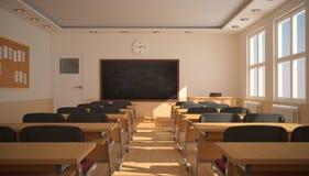 Wnętrze sala lekcyjna z światłem słonecznym (3D rendering) Zdjęcie Stock
