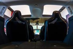 Wnętrze sklejony, elektryczny, luksusowy, skrzyżowania SUV Tesla model X Fotografia Stock
