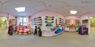 Wnętrze sklep z odzieżowych i joga rzeczami 3D bańczasta panorama z 360 stopni viewing kątem przygotowywający dla rzeczywistości  Fotografia Stock