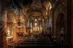 Wnętrze St Emmeram katedra, Nitra obraz stock