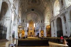 Wnętrze St Michael kościół w Monachium Zdjęcia Stock