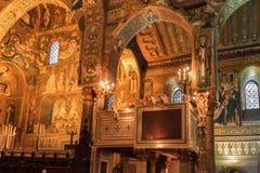 Wnętrze Strzelał sławny Cappella Palatina w Sicily Zdjęcia Royalty Free