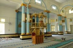 Wnętrze sułtanu Ibrahim Jamek meczet przy Muar, Johor Obrazy Stock