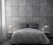 Wnętrze sypialnia z betonową ścianą, 3D rendering ilustracji