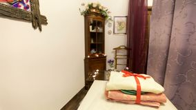 Wnętrze szczegóły w zdroju miejsce dla masażu zbiory