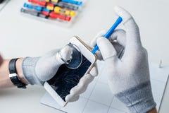 Wnętrze telefonów komórkowych składniki obrazy stock