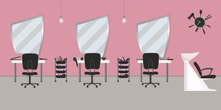 Wnętrze włosiany salon w różowym kolorze piękno nailfile paznokcie poleruje zwolnienia ilustracji