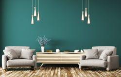 Wnętrze z drewnianym dresser i kareł 3d renderingiem Fotografia Stock