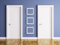 Wnętrze z dwa ramami i drzwiami ilustracja wektor