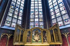 Wnętrza Notre paniusi d'Anvers katedry, Anvers, Belgia Obrazy Stock