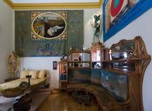 Wnętrza z meble i sztuki pracami w Dali muzeum Fotografia Stock