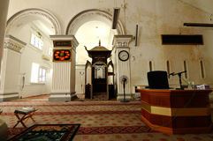 Wnętrze Abidin meczet w Kuala Terengganu, Malezja Obrazy Stock