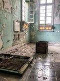 Wn?trze Amiantos porzuca? szpital w halnym regionie Trodos, Cypr zdjęcie stock