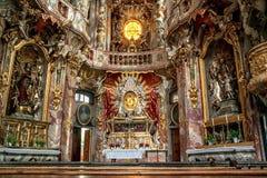 Wnętrze Asamkirche w Munic Zdjęcie Royalty Free