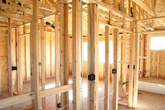 wnętrze domu ramowego drewniane Obrazy Stock