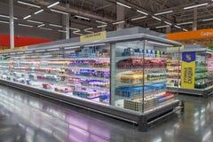 Wnętrze hypermarket Lenta obraz royalty free