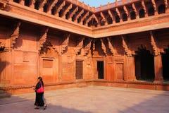 Wnętrze Jahangiri Mahal w Agra forcie, Uttar Pradesh, India Obrazy Stock