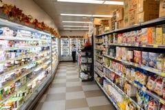 Wnętrze karmowy supermarket Obrazy Stock