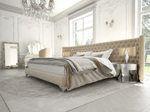 Wnętrze klasyczna stylowa sypialnia w luksusie Obrazy Royalty Free