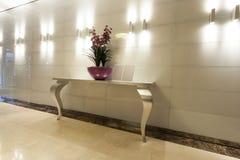 Wnętrze luksusowego hotelu korytarz Obrazy Stock