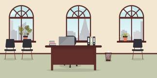 Wn?trze pracuj?cy miejsce w nowo?ytnym biurze Wielcy okno z miasto krajobrazem z drapacz chmur r?wnie? zwr?ci? corel ilustracji w ilustracja wektor