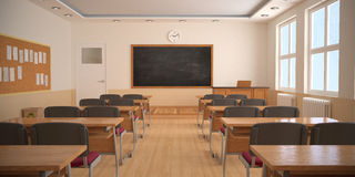 Wnętrze sala lekcyjna (3D rendering) Fotografia Royalty Free