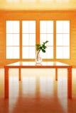 Wnętrze w drewnianym stylu Kwiat na stole Ilustracji