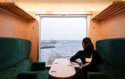 Wnętrze Wschodni Japonia Gono linii kurortu Shirakami Kolejowi widoki Obraz Royalty Free