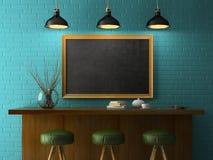 Wnętrze z chalkboard mockup 3D renderingiem Obrazy Stock