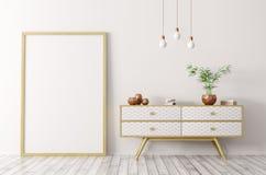 Wnętrze z drewnianym kredensem i egzamin próbny ramy 3d up renderingiem Obrazy Stock