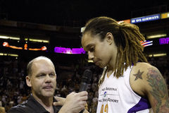 WNBA Phoenix Mercury Wins. The WNBA Phoenix Mercury win game two 97-68 of the 2014 WNBA Finals. Brittney Griner was the high scorer for the Mercury with 19 Stock Photography