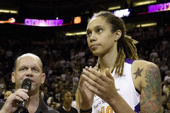 WNBA Phoenix Mercury Wins. The WNBA Phoenix Mercury win game two 97-68 of the 2014 WNBA Finals. Brittney Griner was the high scorer for the Mercury with 19 Royalty Free Stock Photos