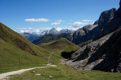 Wnderful dolomite mountains scenry and green meadow in south tyrol Royalty Free Stock Photography