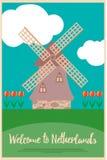 Wndmill en tulpen op een afficheonthaal aan Nederland Royalty-vrije Stock Afbeelding