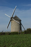 Wndmill in fields of France Stock Photography