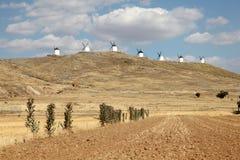 Wndmills in Castilla-La Mancha, Spain Royalty Free Stock Image