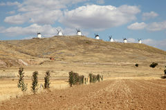 Wndmills w losie angeles Mancha, Hiszpania Obraz Royalty Free