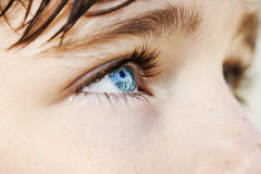 Wnikliwa spojrzeń niebieskich oczu chłopiec obraz royalty free