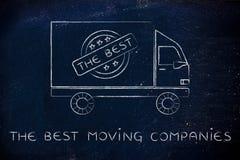 Wnioskodawcy ciężarowe z logem najlepszy poruszające firmy fotografia stock