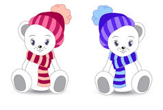 Wnite teddy bear in a cap and a scarf Stock Photography