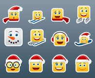 Wnter smile stickers set. Set of 12 winter holidays smile stickers Royalty Free Stock Images